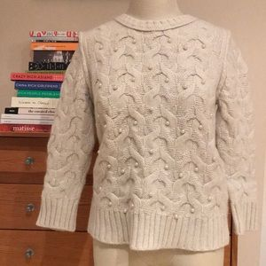 Ann Taylor Ivory Wool Rabbit Hair Sweater